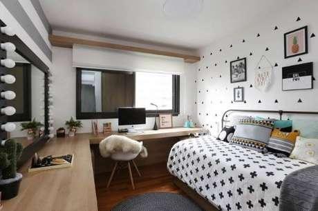53. Janela para quarto de solteiro moderno em preto e branco – Por: Quattrino Arquitetura