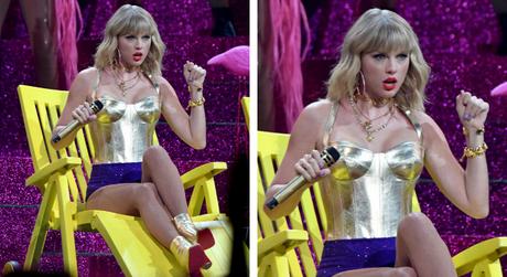Taylor Swift (Fotos: Divulgação/Versace/GettyImage)