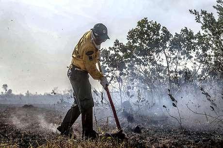 Brigadista usa enxada para combater fogo na região de Manicoré, Amazônas