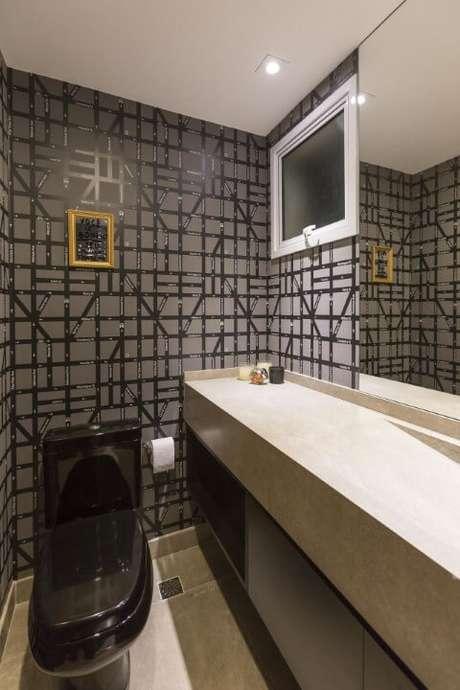 52. Azulejo para banheiro cinza e preto. Projeto de Conseil Brasil