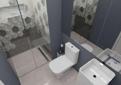 45. Você pode formar um degradê com azulejos para banheiro. Projeto de Lincoln Santana Samogi