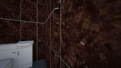 22. O azulejo marrom é mais recomendado para ambientes maiores