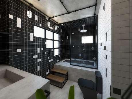 79. Decoração clássica com azulejo para banheiro em tons branco e preto. Fonte: Pinterest