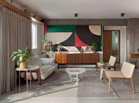 30. Modelo diferente de sofá branco 3 lugares – Foto: OD.VO