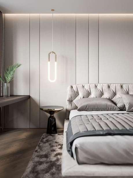 39. O quarto cinza com pisos para quarto são tendência – Por: Living Room Ideias