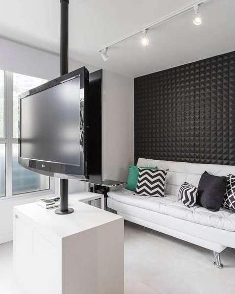 45. O sofá branco para sala pequena é uma das melhores opções para ampliar visualmente o ambiente – Foto: Sesso & Dalanezi Arquitetura