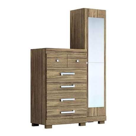 26. Sapateira com espelho em formato de cômoda traz funcionalidade para o quarto. Fonte: Êbba Móveis