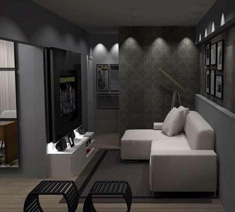 9. Decoração com tapete cinza para sala pequena com sofá retrátil – Foto: Wood Save
