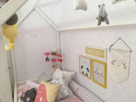 41. Decoração de quarto de bebê com cama de casinha – Por: Arqexpress: