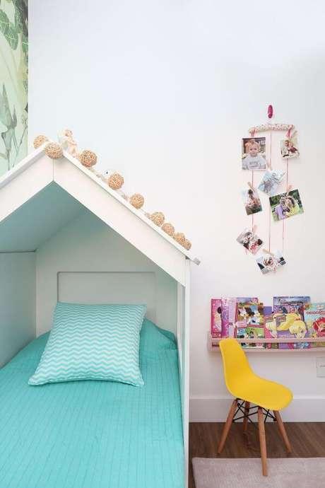 43. Decoração para quarto de menina com cama casinha – Por: By Arquitetura