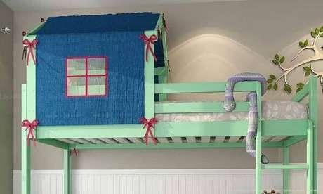 46. Decoração de beliche em formato de cama casinha – Por: Lojas KD