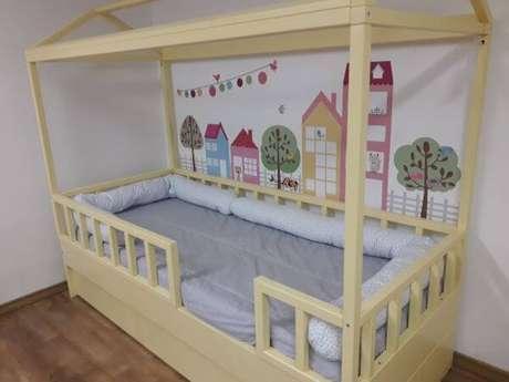 54. A cama casinha pode contar com uma linda decoração – Por: BK Moveis Design Eirelle