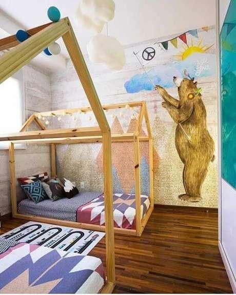 3. Quarto compartilhado com camas em formato de casinha – Por: Pinterest