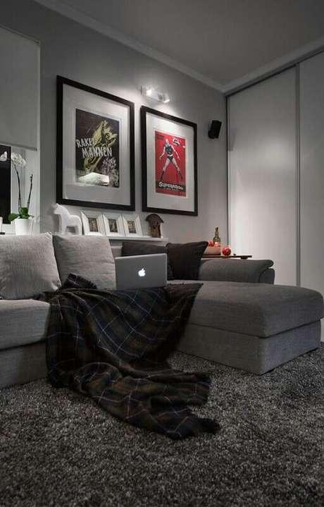 44. Tapete felpudo cinza para decoração de sala moderna com quadros decorativos – Foto: Pinterest