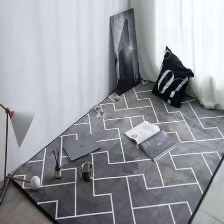 47. Modelo de tapete geométrico cinza – Foto: AliExpress