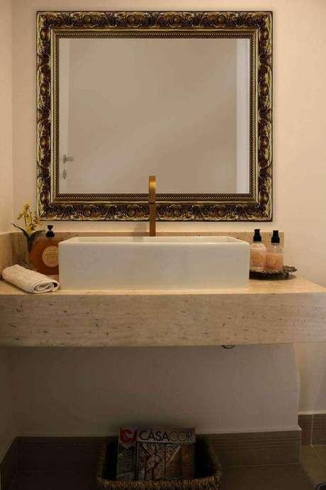 25. Mais um exemplo de como a toalha de lavabo pode ser um elemento apenas funcional. Projeto de Zark Studio Lab