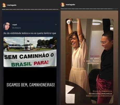 Postagens feitas por Maria Gadú no Dia da Visibilidade Lésbica