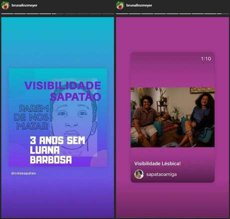 Postagem feita por Bruna Linzmeyer no Dia da Visibilidade Lésbica