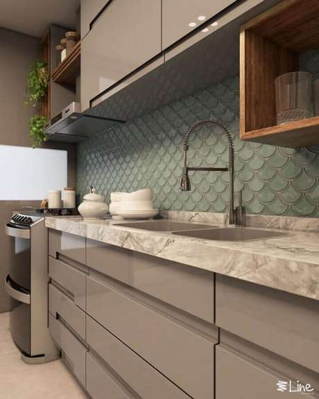 38. O azulejo para cozinha com estilo 3D é garantia de um toque super charmoso no ambiente decorado – Foto: Lais Arêas
