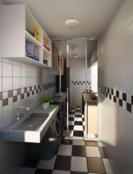 16. Se você quiser, também é possível combinar o azulejo para cozinha com o piso