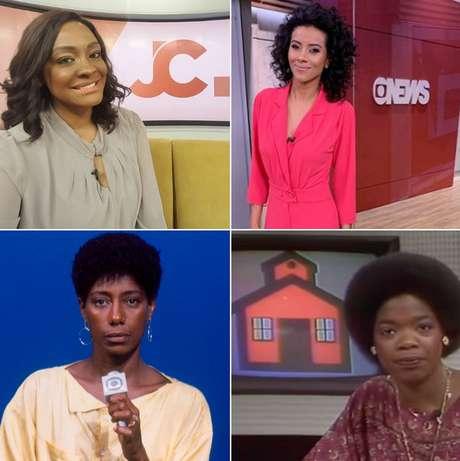Acima, Joyce Ribeiro e Aline Midlej; abaixo, as precursoras Gloria Maria e Oprah Winfrey: batalha árdua para realizar o sonho de fazer telejornalismo