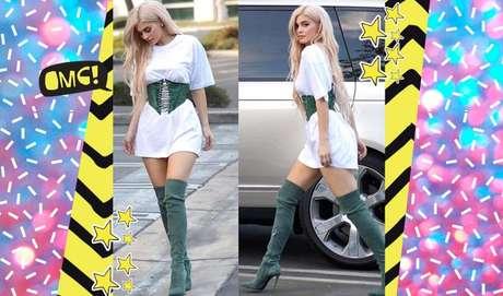 Se você prefere um look com cintura marcada, é só apostar no vestido larguinho + um cinto estiloso, como o da Kylie.