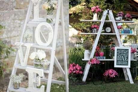 13. Estante escada complementa a decoração da festa de casamento. Fonte: Pinterest