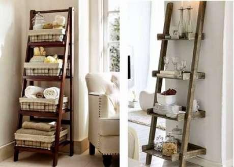 4. Estante escada madeira auxilia na organização do cômodo. Fonte: Pinterest