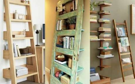 51. Estante de madeira exerce diferentes funções dentro de casa. Fonte: Pinterest