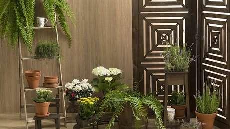 36. Para varanda inclua uma estante escada para as plantas. Fonte: Westwing
