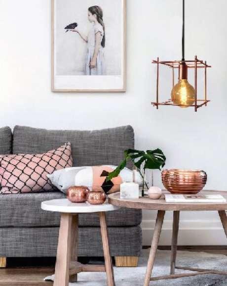 42. Pendente aramado diferente para a sala de estar – Por: Atelier Luz