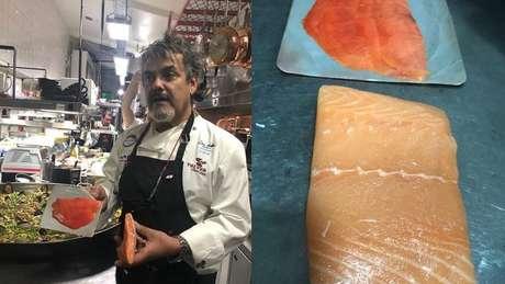 Chef Lino Adillón, com um salmão natural e um de cativeiro, para mostrar as cores diferentes