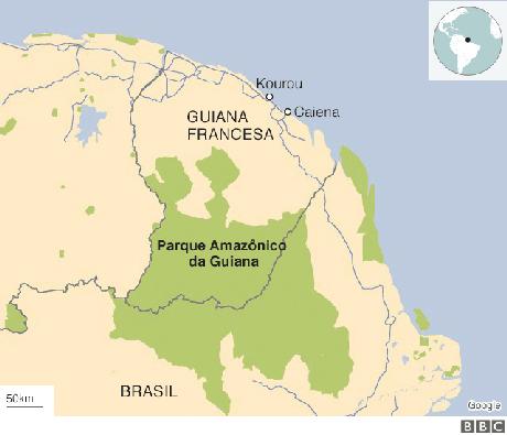 Mapa mostra território da Guiana Francesa com destaque ao Parque Amazônico da Guiana