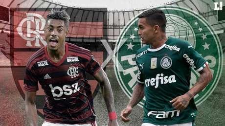 Bruno Henrique e Dudu são destaques de Flamengo e Palmeiras, respectivamente (Arte: Marcelo Moraes/LANCE!)