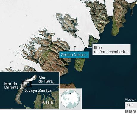 Gráfico de mapa identificando região no Ártico