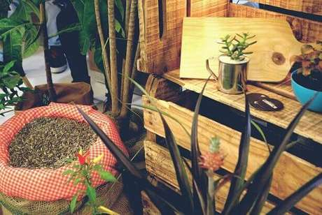 2. Tenha atenção na hora deelaborar sua decoração comcaixotes de madeira, sobretudo no uso das peças. Projeto de Silvia Spolaor