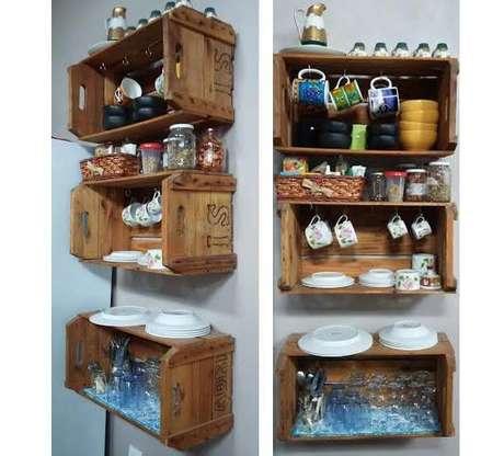 6. Inspire-se nesta lindíssima decoração com caixotes de madeira para fazer a sua