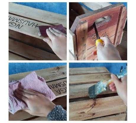 4. Lixe bem o seu caixote de madeira para que ele fique com a melhor aparência