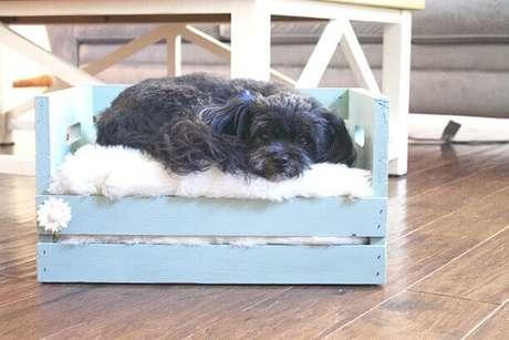 39. Decoração com caixotes de madeira adaptadas para virar cama de cachorro. Foto de Pinterest