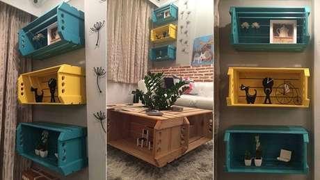 18. Essa decoração com caixotes de madeira como nichos e mesa de centro mostra como o caixote de madeira é versátil. Foto de Extra