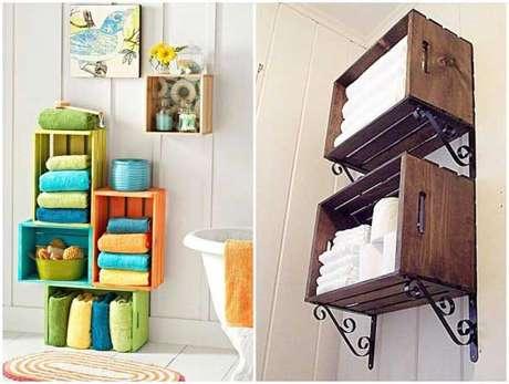 10. Você pode usar uma decoração com caixotes de madeira no banheiro. Foto de Artesanato e Reciclagem