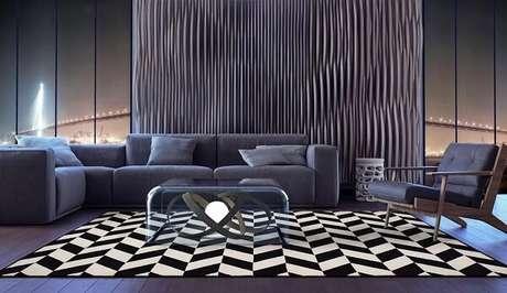 65. Sala de estar ampla com tapete preto e branco gigante. Fonte: Pinterest