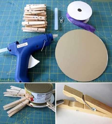 11. Como fazer moldura para espelho com pregadores de madeira. Fonte: Pinterest