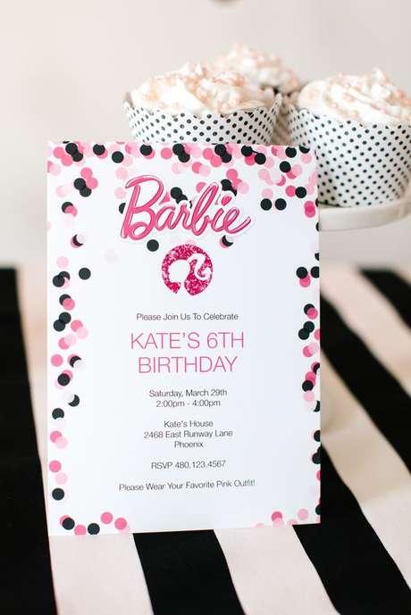 57. Festa da barbie convite personalizado – Por: Pinterest