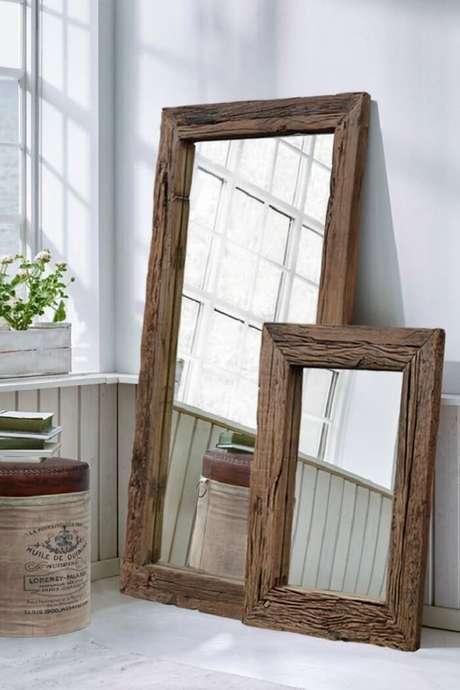 31. Moldura para espelho em MDF para decoração rústica. Fonte: Pinterest