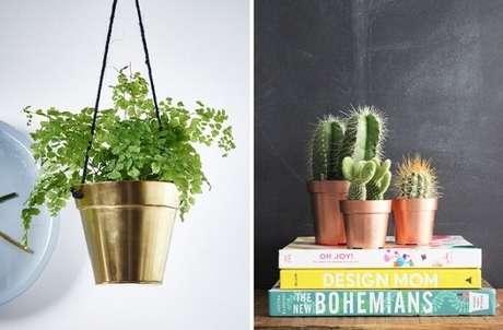 49. Vaso de plantas pintado com tinta spray dourada. Fonte: Pinterest