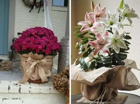 53. Vasos de plantas com base feita de juta. Fonte: Pinterest