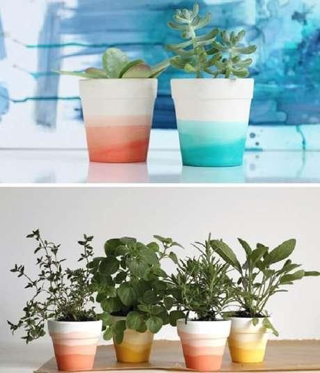 56. Vasos de plantas com pintura em degradê. Fonte: Pinterest