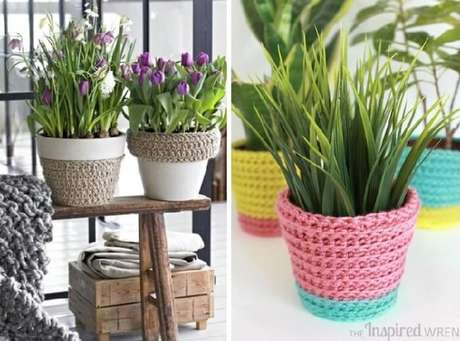 60. Vasos de plantas decorar com material de crochê. Fonte: Pinterest