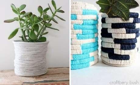 65. Vasos de plantas feitos com linhas coloridas. Fonte: Pinterest